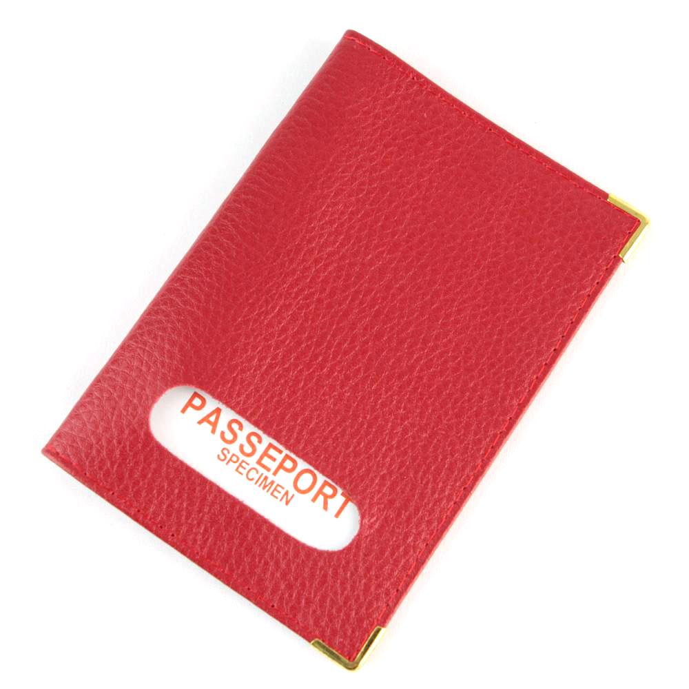 Étui protège porte passeport mixte en croûte cuir B7 Rouge