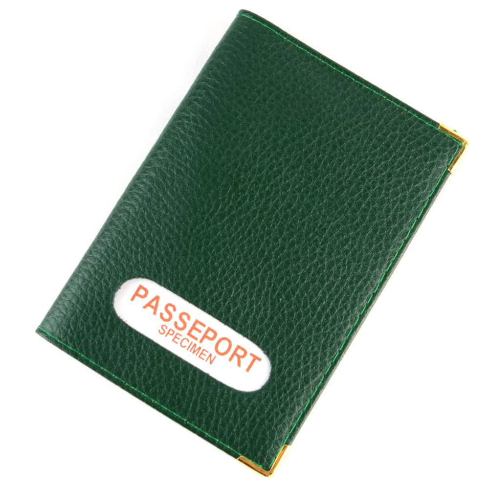 Étui protège porte passeport mixte en croûte cuir B7 Vert