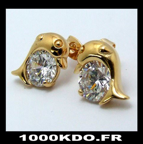 Boucles d\'oreilles bo puce earring dauphin cl plaqué or neuf BO9