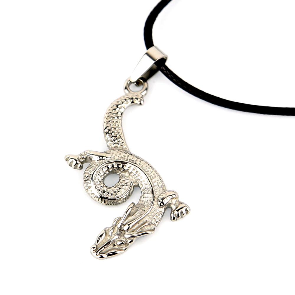 Pendentif acier dragon + collier cordon noir homme COSA15