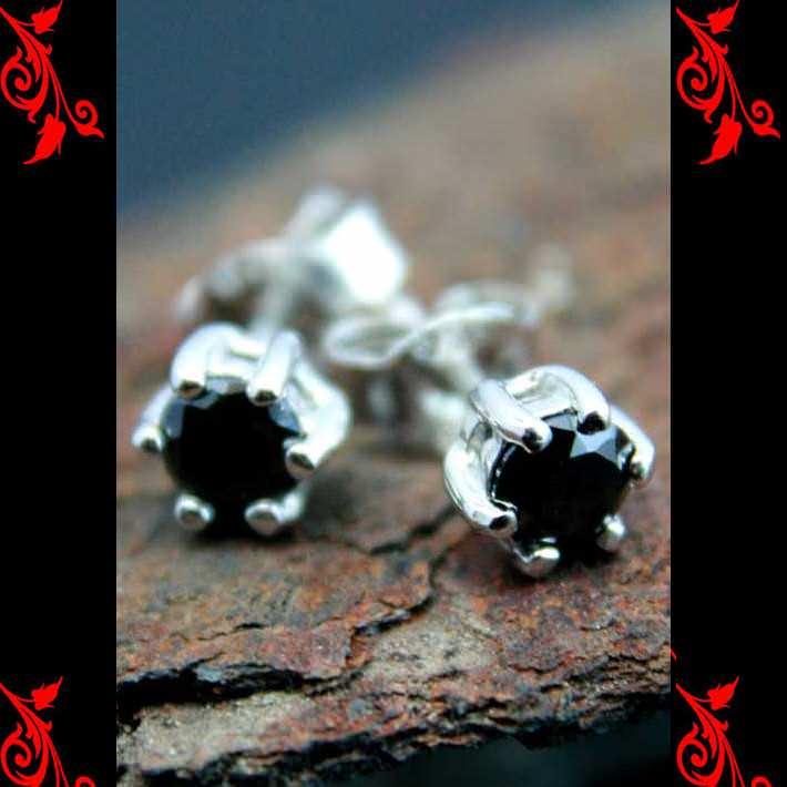 Boucles d\'oreilles bo cz noir rond homme femme argent BOA74 5mm
