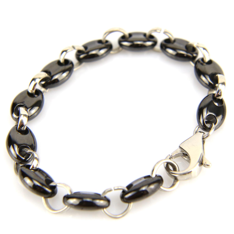 Bracelet acier céramique maille grain de café homme BRSM1 noir 9mm
