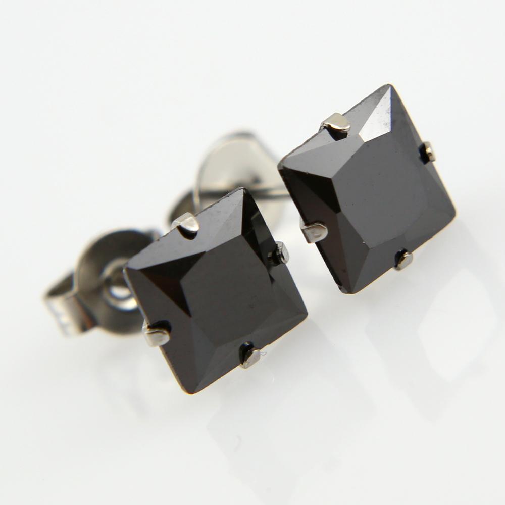 qualité authentique où puis je acheter nouveau pas cher Paire boucles d'oreilles acier pierre cz carre bo homme BOS40 Noir 5mm