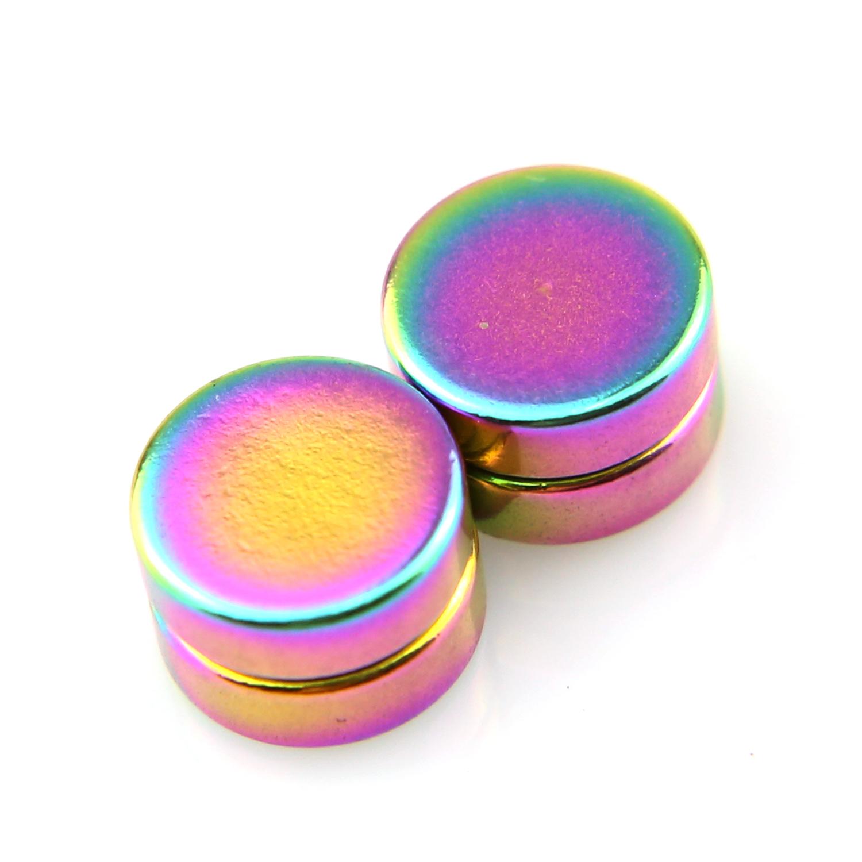 Boucles d\'oreilles acier faux écarteur non percées aimant magnétique BOF24 Multicolore 8mm