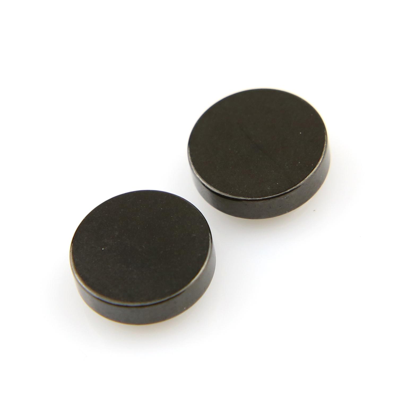 Boucles d\'oreilles acier faux écarteur non percées aimant magnétique BOF24 Noir 10mm