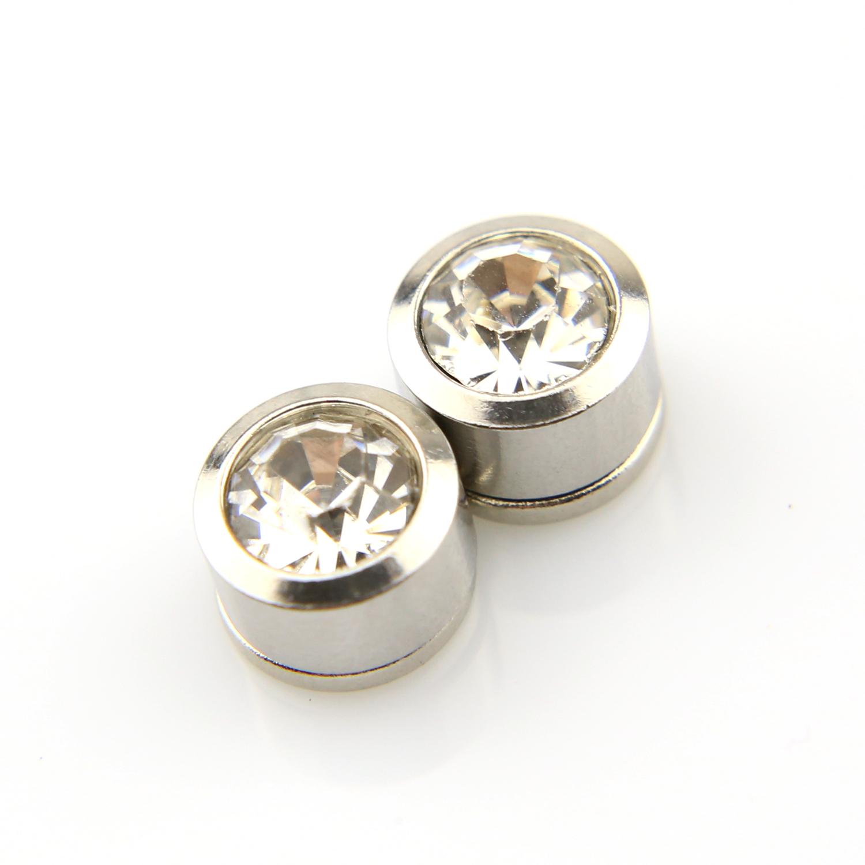 Boucles d\'oreilles acier non percées aimant magnétique BOF25 Blanc 8mm