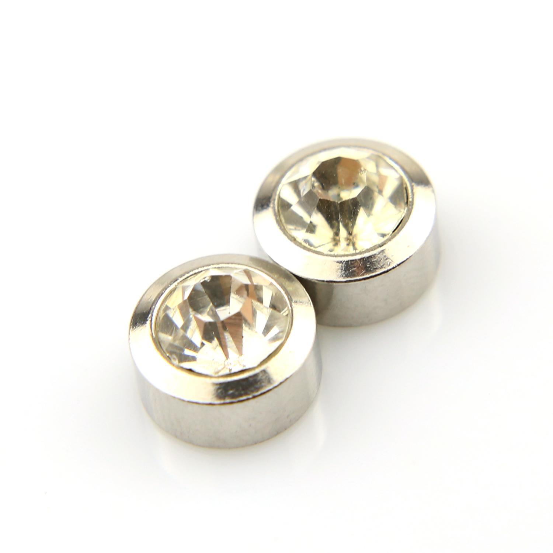 Boucles d\'oreilles acier non percées aimant magnétique BOF25 Blanc 10mm