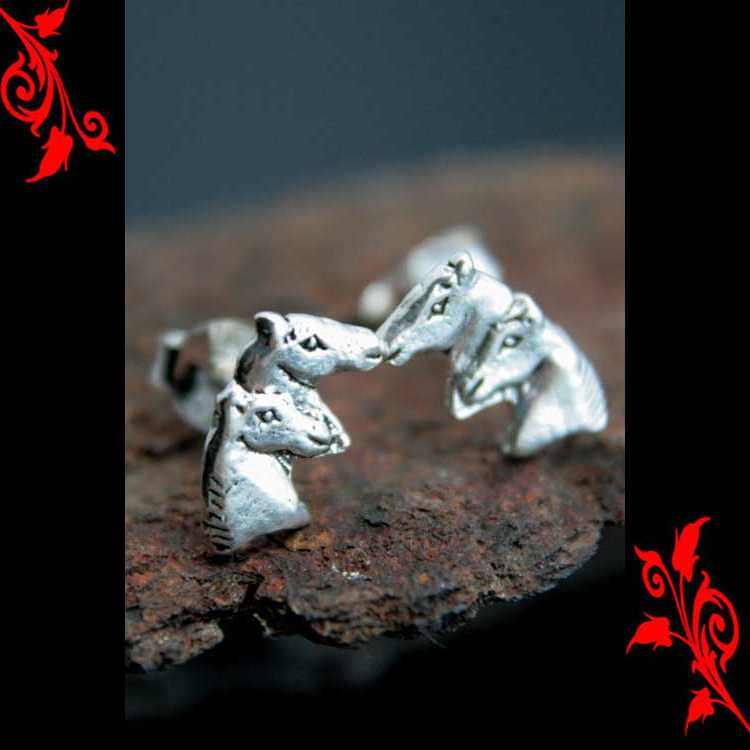 Boucles d\'oreilles 2 tete de cheval homme argent BOA85