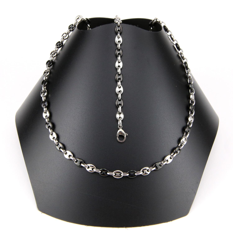Parure collier + bracelet maillons grains de café noir acier homme PRS10