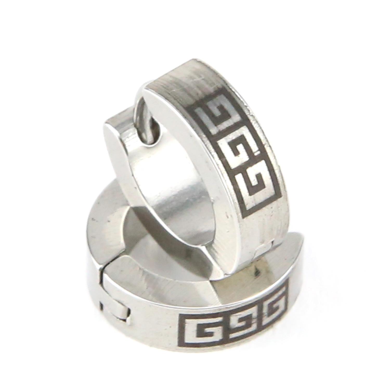 Boucles d\'oreille acier demi créoles motif grecque noir BOS60