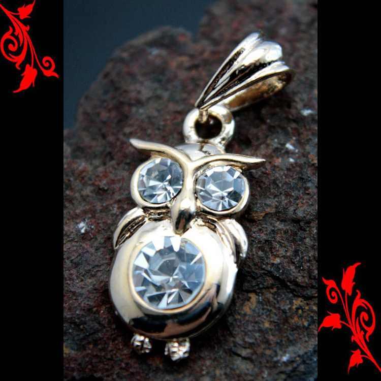 Pendentif chouette hiboux owl enfant cl plaqué or P28