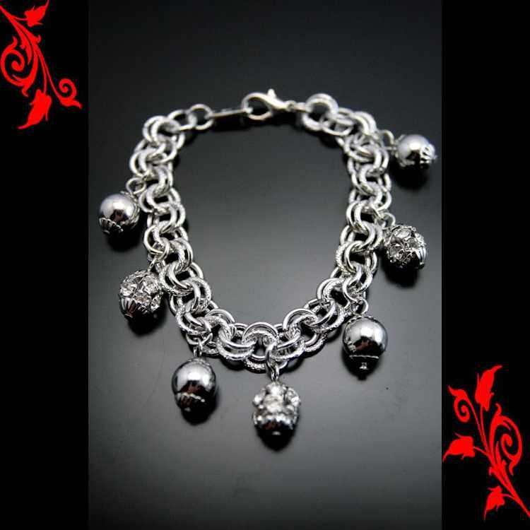 Bracelet goumette breloques boule plaqué bl BRP22 BL