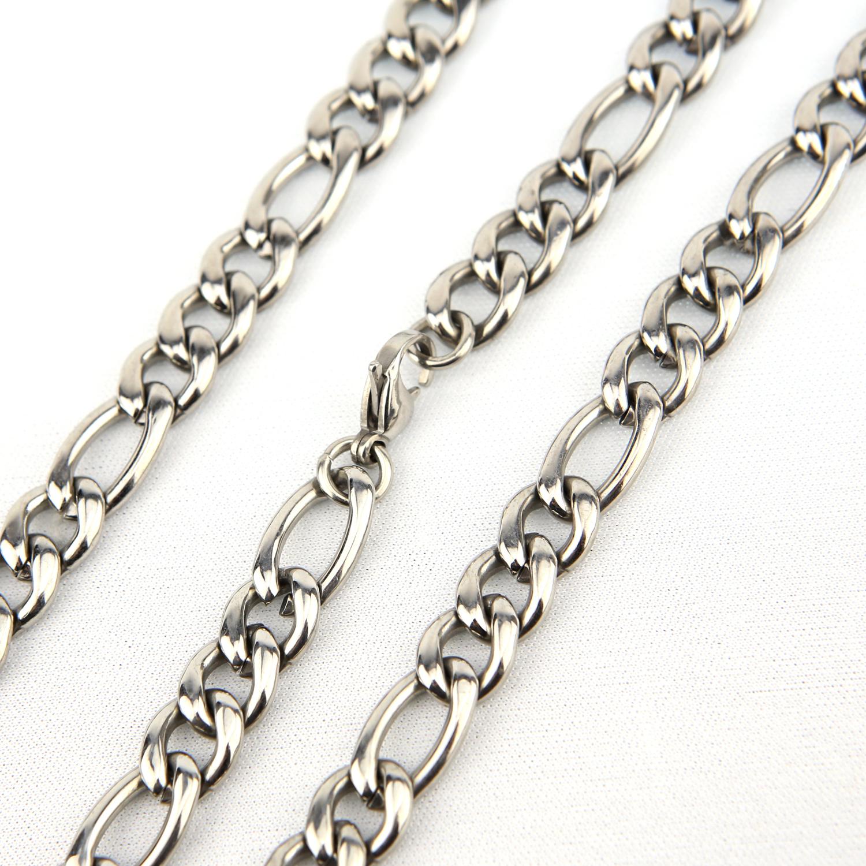 Chaîne collier acier maille figaro 1+3 CCS6 J 55 cm X 0.9 cm