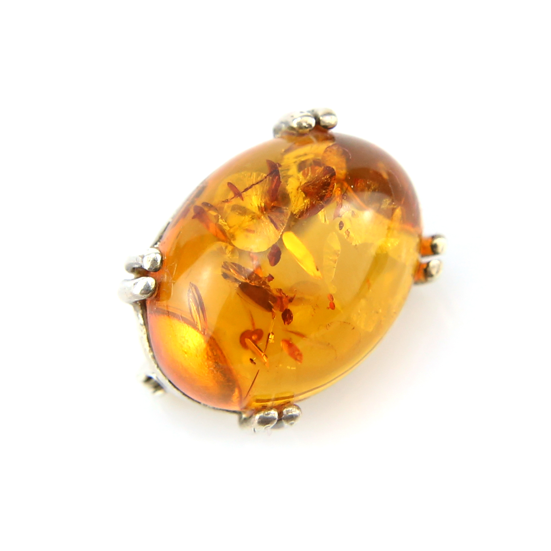 Broche ovale argent ambre véritable BCM6 Cognac