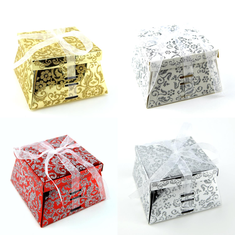 Lot boîtes à gâteaux pour faire part mariage baptême motif floral BTC22