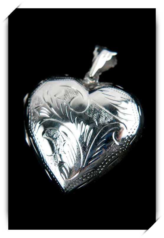 Pendentif médaillon porte photo message cassolette cœur argent PA27
