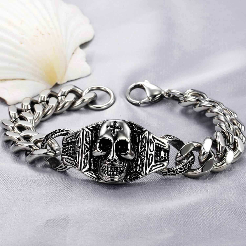 Bracelet homme acier tête de mort gothique maille gourmette BRG2