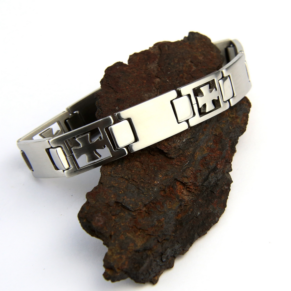 Bracelet acier homme motif croix pattée BRSX8