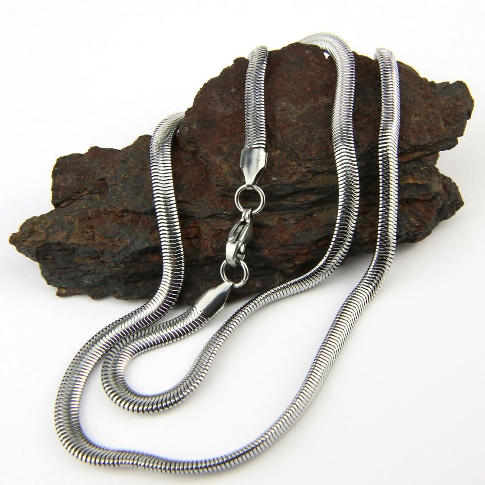 Chaîne collier acier maille serpent CCS21 B 52 cm 0.4 cm