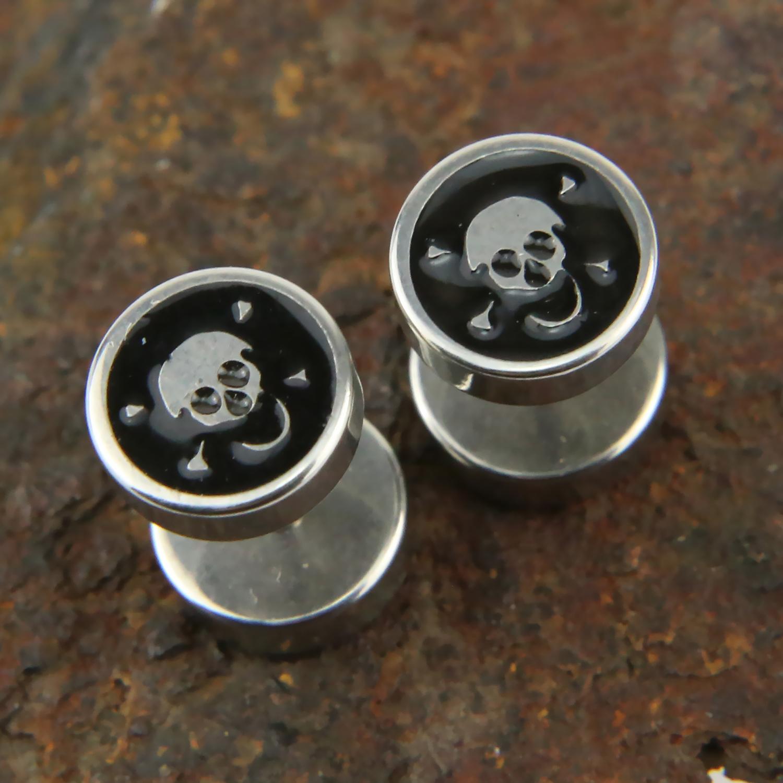 paire boucle d 39 oreille acier faux carteur plug vis clou t te de mort bose9 bijoux boucles d. Black Bedroom Furniture Sets. Home Design Ideas