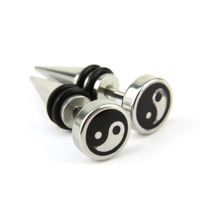 Paire piercing oreille pointu acier faux écarteur vis clou yin yang BOSE13