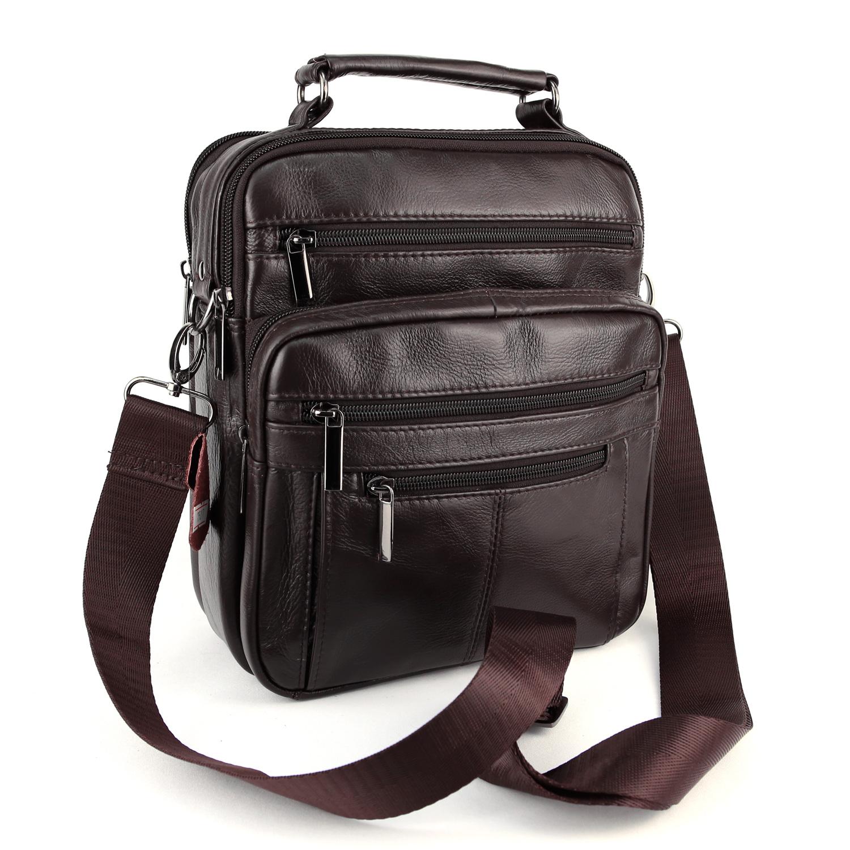 Sacoche besace sac à bandoulière homme cuir vachette SB7507 Marron