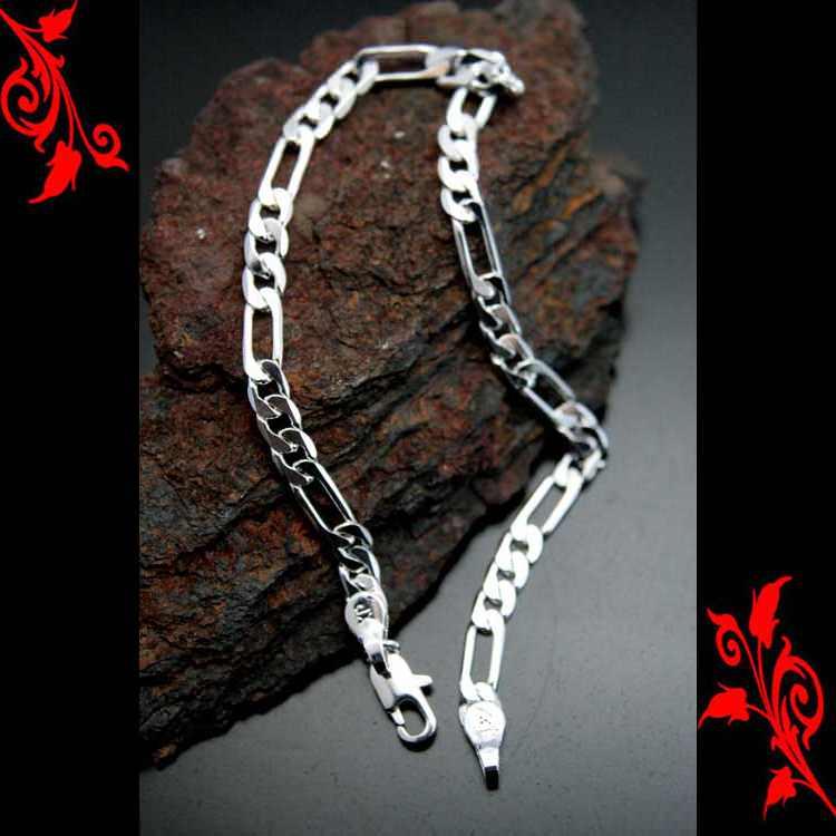 Bracelet goumette maille figaro cl plaque rhodium BRP4