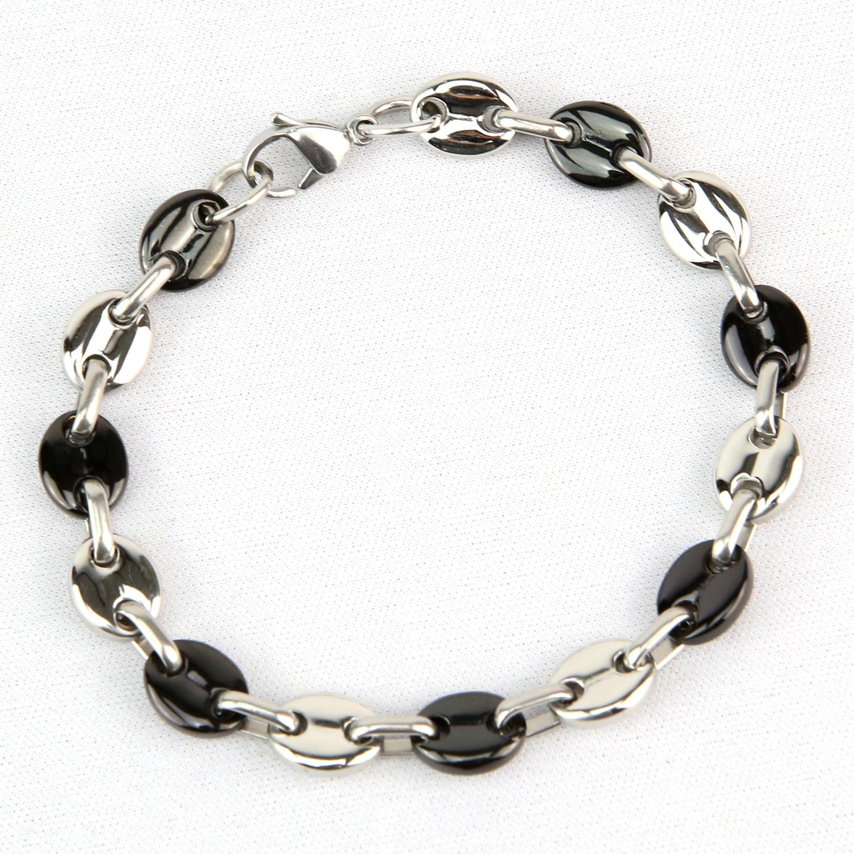 Bracelet maillons grains de café noir acier homme BRSG19