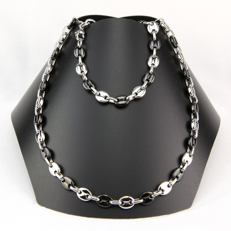 Parure collier + bracelet maillons grains de café noir acier homme PRS19