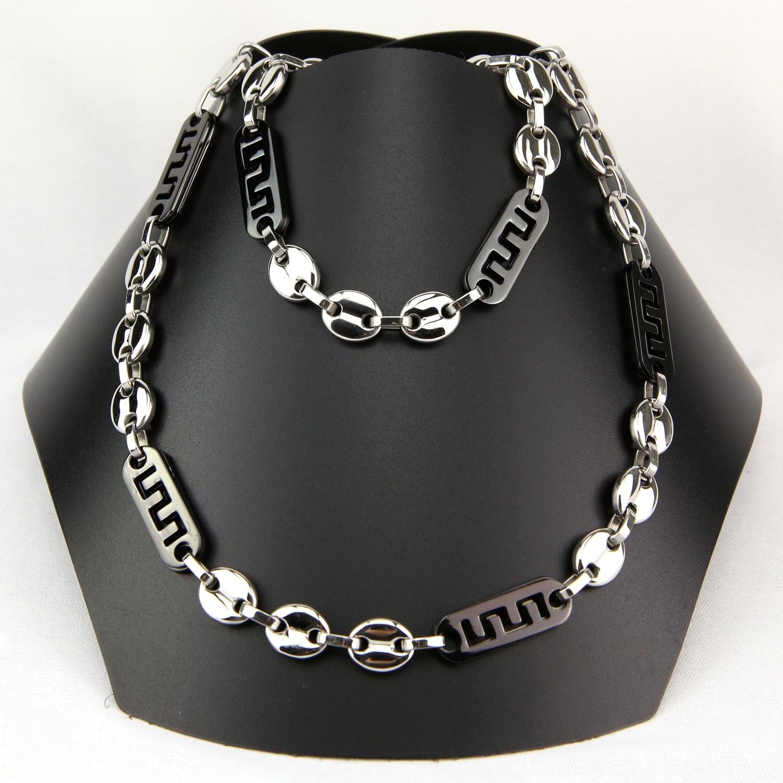 Parure collier + bracelet maillons grains de café grecque noir acier homme PRS21