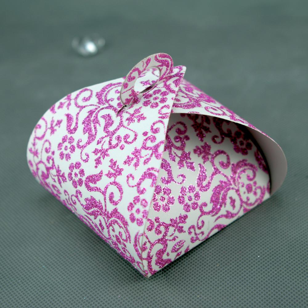 50 boîtes à gâteaux pour faire part mariage baptême motif floral BTC2 Paillette fushia