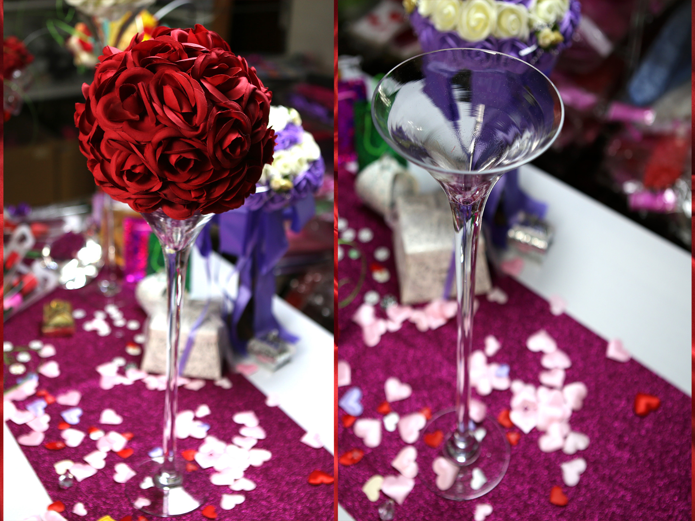 Vase martini 40 cm support boule de rose VSM40