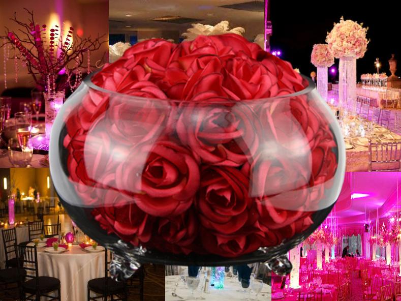 Vase boule pour centre de table vase aquarium fleur for Centre de table lumineux