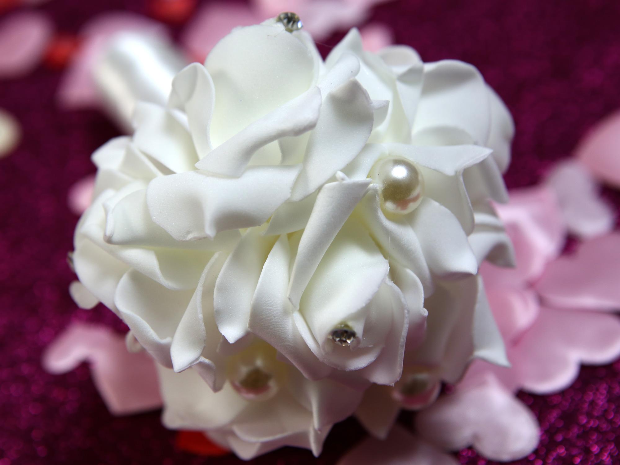 Mini bouquet demoiselles d\'honneurs BQT2 BLANC