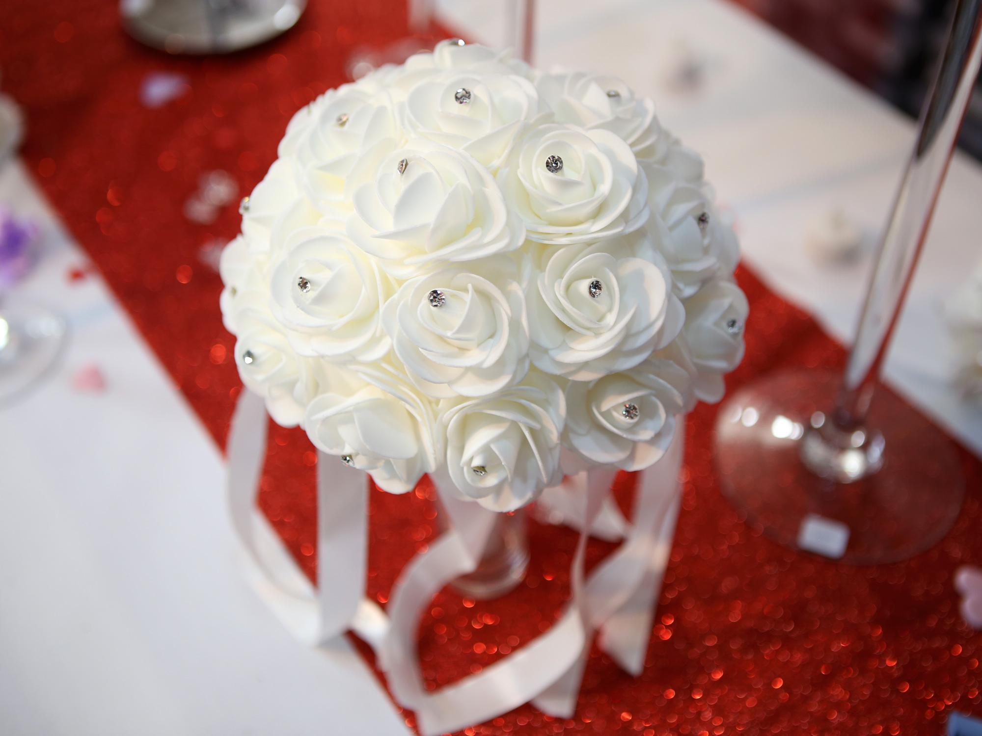Bouquet de la mariée rose strass BQT5 BLANC