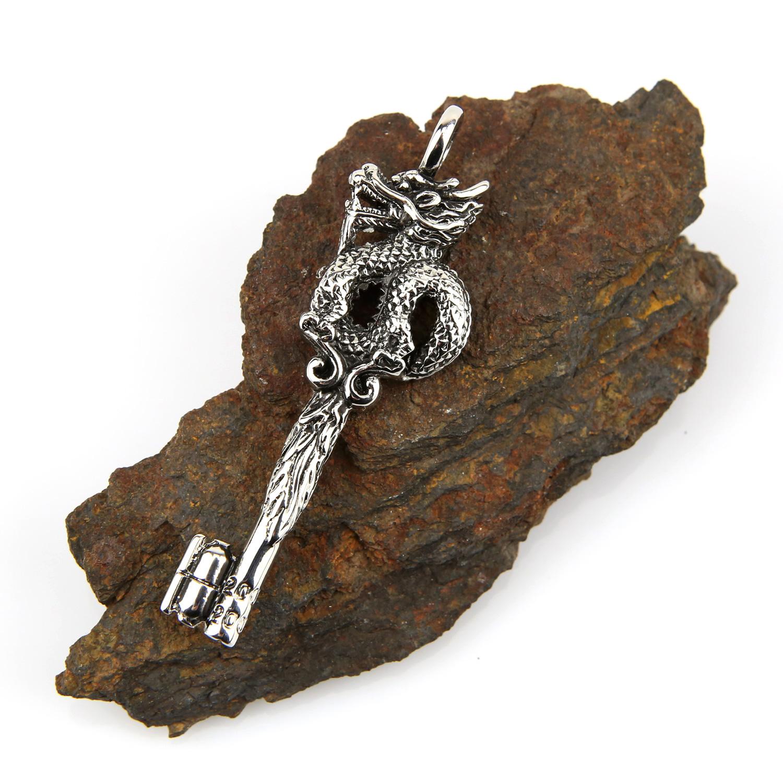 Pendentif acier clé avec dragon PSG10