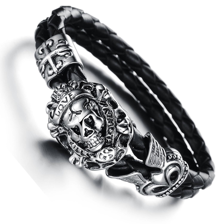 f1ebc78c8e6 Bracelet tête de mort pirate acier cuir tressé noir gothique BRGC1 ...