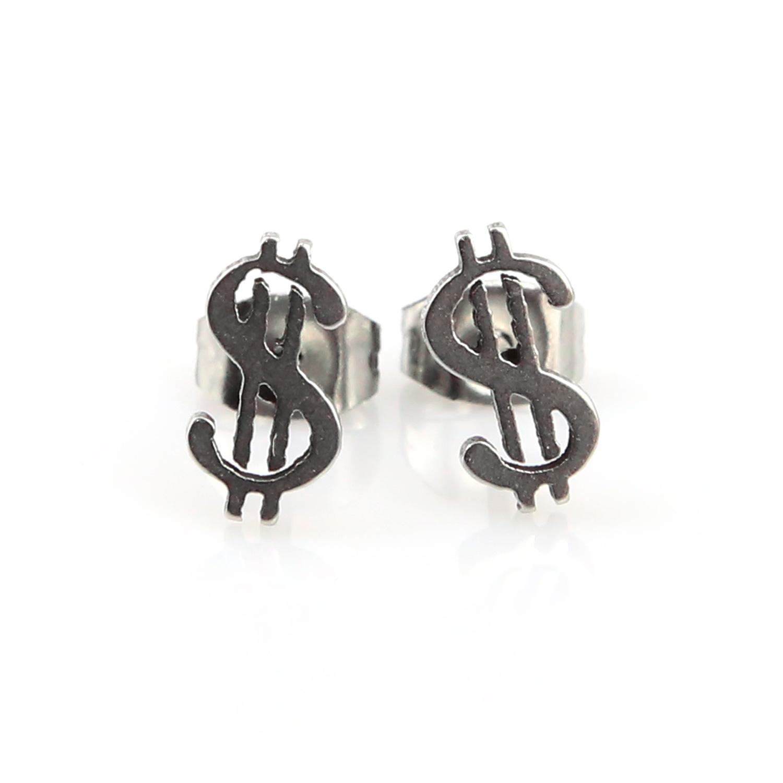 Boucles d\'oreilles acier dollars bo homme BOS79