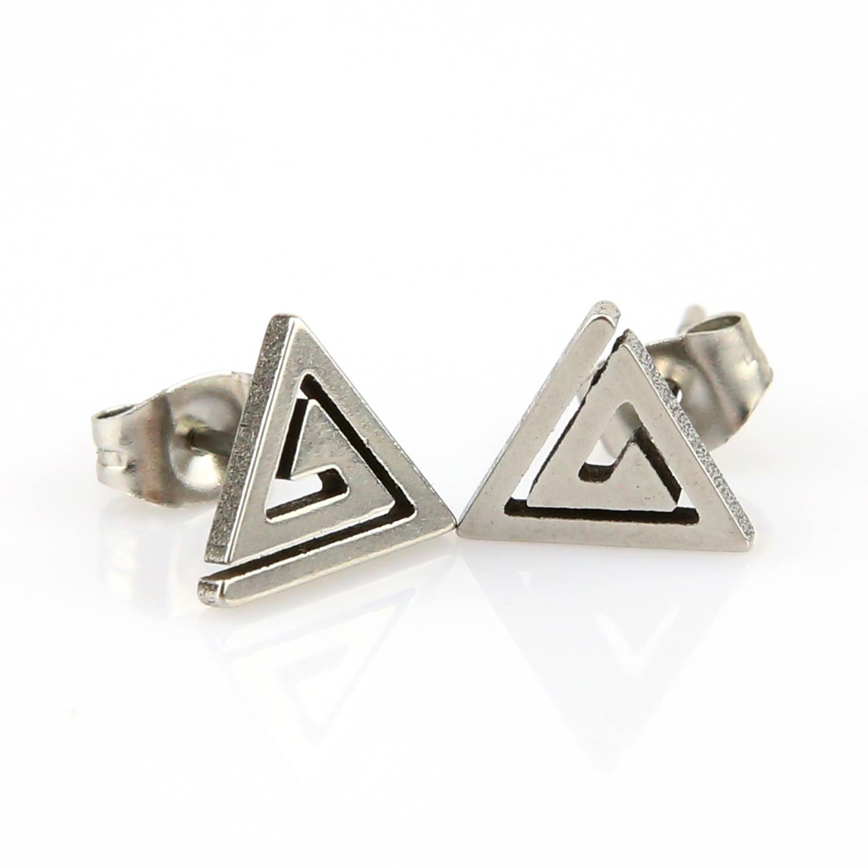 Boucles d\'oreilles acier clou spirale triangle bo homme BOS74
