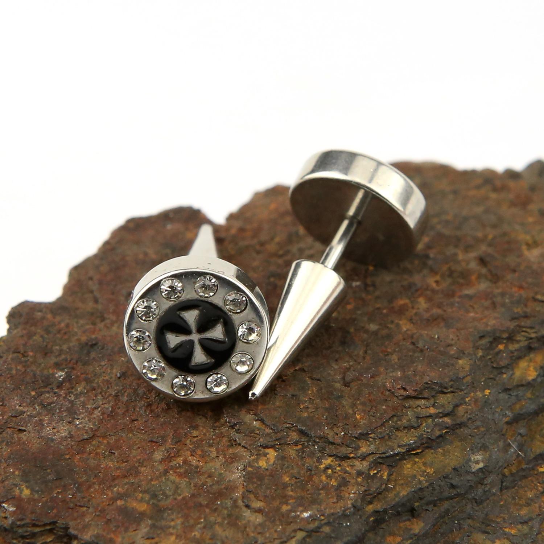 Paire piercing oreille pointu acier faux écarteur vis clou croix de malte BOSE17