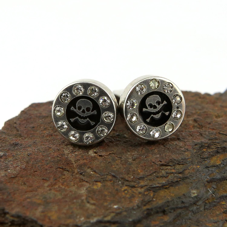 Paire piercing oreille pointu acier faux écarteur vis clou tête de mort BOSE18
