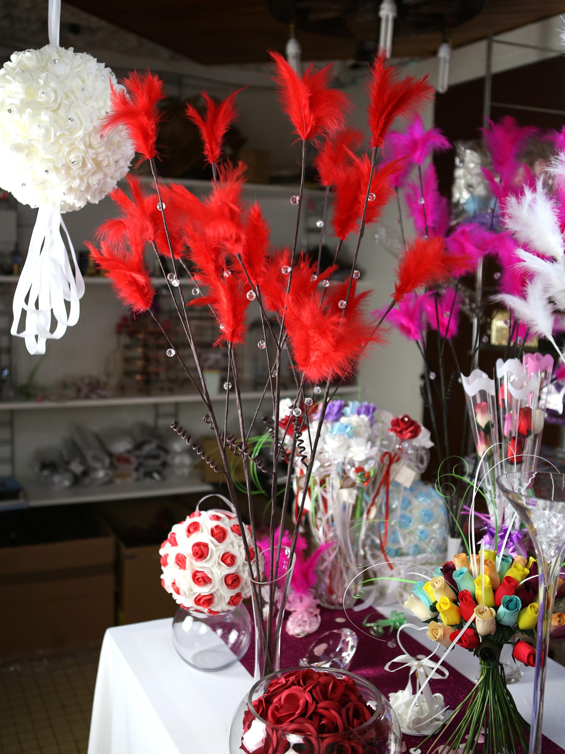 10 tiges avec plume décoration mariage MTG2