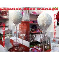 Location mariage vase martini 50 cm avec boule de fleur LOM1