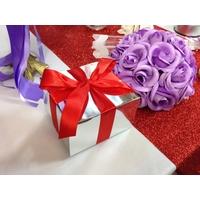50 boîtes à gâteaux ruban pour faire part mariage baptême BTC9B Argenté