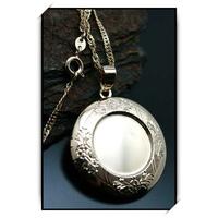 Chaîne pendentif porte photo ronde plaqué or COP19