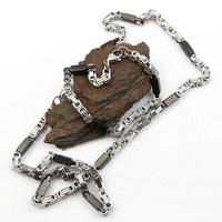 Parure collier bracelet bizantina carré maille royal or doublé grecque noir acier homme