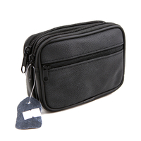 Etui housse pochette zippée à passant ceinture cuir vachette SC2205 noir