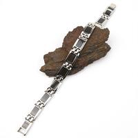Bracelet acier fibre de carbone magnétique BRSB1