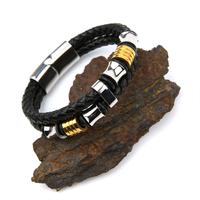 Bracelet acier cuir tressé noir deux tours fermoir magnétique BRGC5