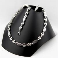 Parure collier bracelet grain de café grecque acier homme